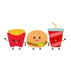 happy smiling funny cute burgersoda vector image