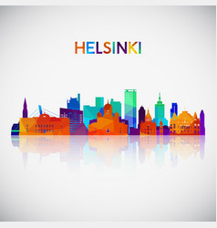 helsinki skyline silhouette in colorful geometric vector image