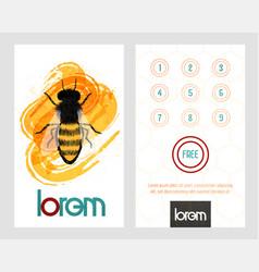 Honey bee on honeytombs loyalty card card vector