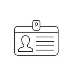 identification card line icon on white background vector image