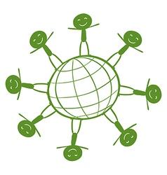Kids around the green globe vector