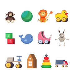 Kids toys set colorful flat vector