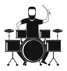 Man at drums icon simple style vector