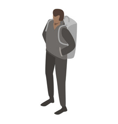 Man migrant with backpack icon isometric style vector