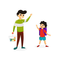 man with son shopping vector image