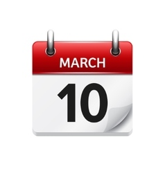 March 10 flat daily calendar icon Date vector