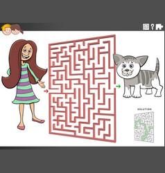 Maze game with cartoon teen girl and kitten vector