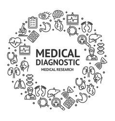 Medical diagnostics signs round design template vector