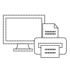 monitor computer with printer vector image