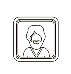 monochrome contour square with half body man with vector image