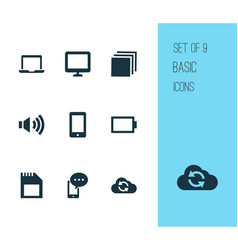 multimedia icons set with categories volume up vector image