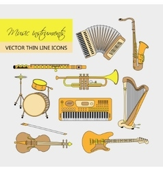 Music instruments thin line icon set for web and vector