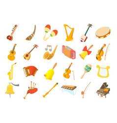 Musical instrument icon set cartoon style vector