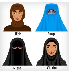 Muslim women in traditional headwear vector