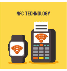 nfc technology smart watch and dataphone pay vector image