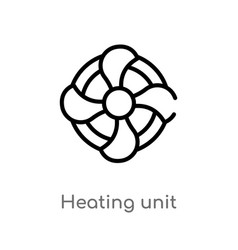 Outline heating unit icon isolated black simple vector