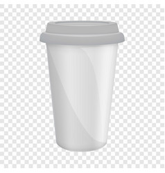 Paper coffee cup with lid mockup realistic style vector