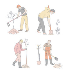 Planting or gardening men with sprouts and spades vector