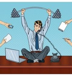 Pop art successful businessman at office work vector