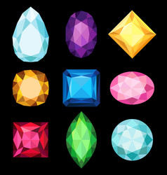 precious stones gems of various shapes and colors vector image