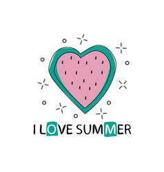 print with watermelon and lettering i love vector image