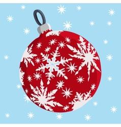 red christmas ball and stars vector image vector image