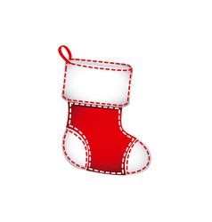 red christmas socks with fur and ornaments vector image