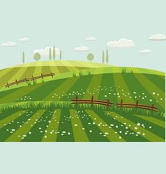 rural countryside landscape spring green meadows vector image