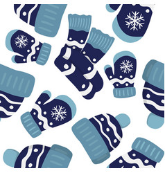 seamless pattern with mittens cap and scarf vector image