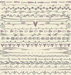 Set of hand drawn lines border and elegant design vector image