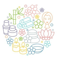 Spa and recreation background with icons in linear vector image