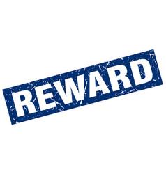 Square grunge blue reward stamp vector