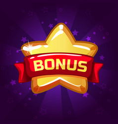 Star bonus icon on background glow vector