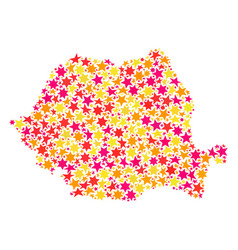 Star collage map of romania vector