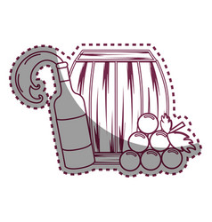 sticker line bottle splashing wine barrel and vector image