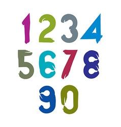 stylish brush digits handwritten numerals sans vector image