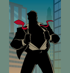 Superhero under cover in city silhouette vector