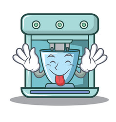 Tongue out coffee maker character cartoon vector