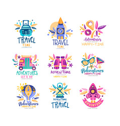 travel time logo design set summer vacation vector image