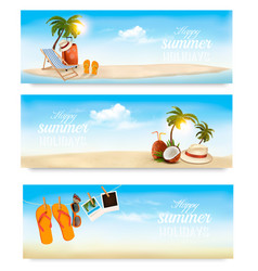 tropical island with palms a beach chair and a vector image