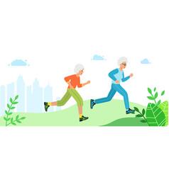 Two grandmothers run through city park vector