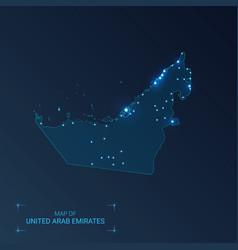 United arab emirates map with cities luminous vector