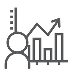 User analysis line icon data and analytics vector