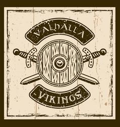 viking shield and swords brown emblem vector image