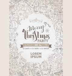 Vintage christmas party invitation with cute vector