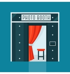 Vintage Photo Booth Machine with Red Curtain vector