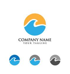 Water wave icon design logo template vector