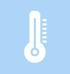 white thermometer icon in flat design thermometer vector image