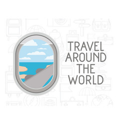 Window airplane travel around the world vector