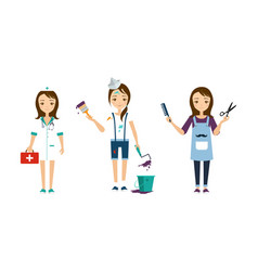 women of different professions set doctor vector image